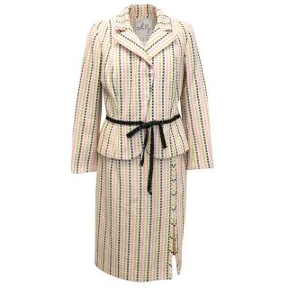 Milly Cream Skirt Suit with Multicoloured Square Pattern