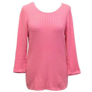 Tommy Hilfiger Pink cabled round neck sweater