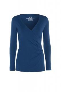 Belinda Robertson Luxe Jersey Wrap Front Long sleeve Top, Mystery Blue, Medium
