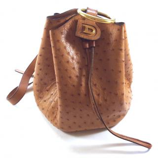 Delvaux vintage ostrich camel leather bag drawstring