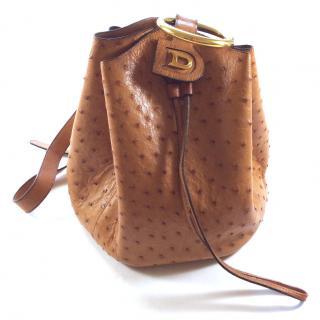Delvaux vintage ostrich camel leather bag drawstring