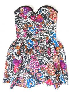 DSquared Floral Strapless Dress