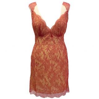 Adriana Minari Sleeveless Red Lace Dress