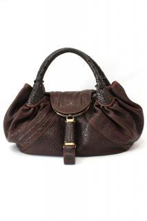 Large Fendi Brown Leather Spy Bag
