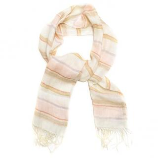 Etro pink scarf with stripes