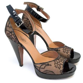 Alaia Black and Brown Lace Peep Toe Heels