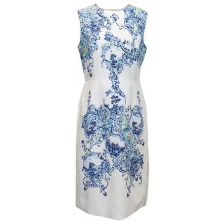 Erdem Milandes White, Blue and Yellow Silk Dress