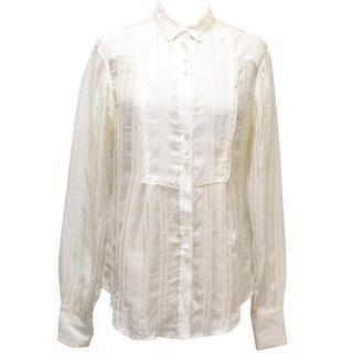 Stella McCartney Long Sleeved Cream Silk-Blend Blouse