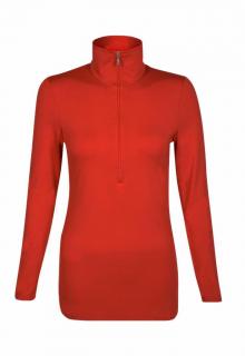 Belinda Robertson Luxe Jersey Zip Neck Top, Rust Red, Medium