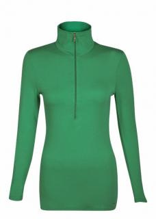 Belinda Robertson Luxe Jersey Zip Neck Top, Emerald Green, Small