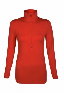 Belinda Robertson Luxe Jersey Zip Neck Top, Rust Red, Extra Large