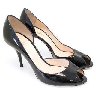 Nadia Grilli Black Patent Leather Peep Toe Heeled Pumps