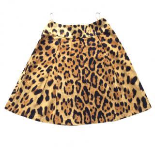 Escada leopard print pleated cotton skirt