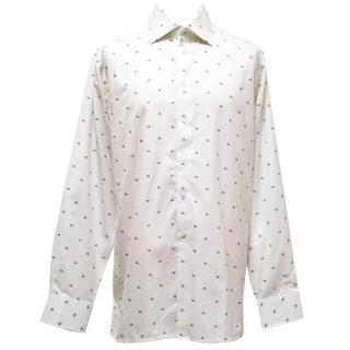 Richard James white shirt with blue and brown flowers