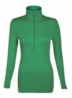 Belinda Robertson Luxe Jersey Zip Neck Top, Emerald Green, Medium