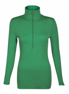 Belinda Robertson Luxe Jersey Zip Neck Top, Emerald Green, Large