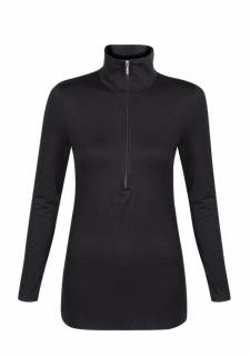 Belinda Robertson Luxe Jersey Zip Neck Top, Black, Large