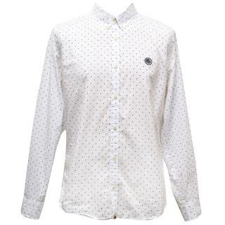 Pretty Green Long Sleeved White Shirt with Black Dot Print