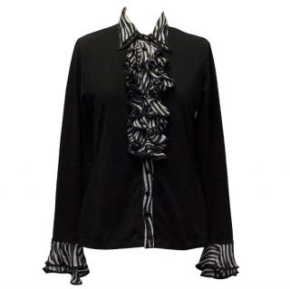 Anne Fontaine Long Sleeved Black Top with Black and Grey Ruffle