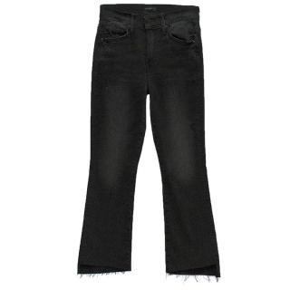 Mother black crop step fray jeans