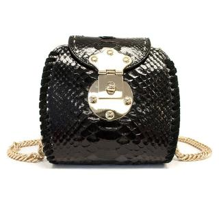 Guema Barnaba Black Python skin black cross body bag