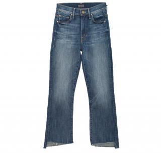 Mother Insider Crop Step Fray blue jeans