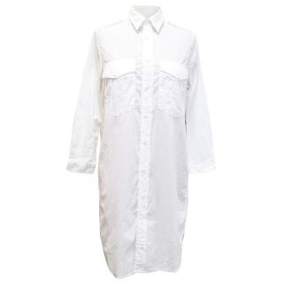 Mother white cotton button up shirt dress