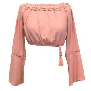 Abercrombie and Fitch Pink off the shoulder crop top
