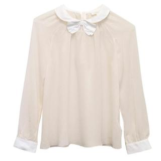 Chloe white blouse with bow tie