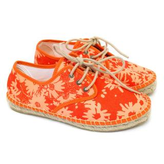 Stella McCartney orange floral canvas espadrilles sneakers