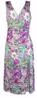 Etro Print Flower Stretch Viscose Jersey Wrap Midi Dress