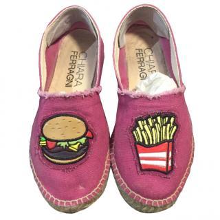 Chiara Ferragni burger and chip espadrilles shoe