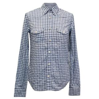 Mother blue and white checked shirt