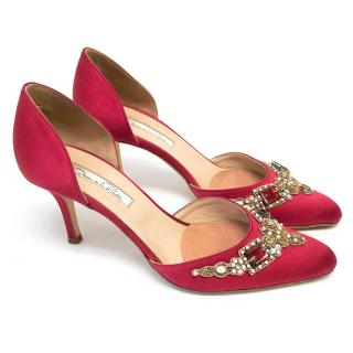 Oscar de la Renta Red Binatomod Satin d'Orsay Pumps