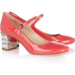 Miu Miu Crystal-embellished patent-leather pumps