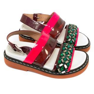 Marni Pink and Burgundy embellished sandals
