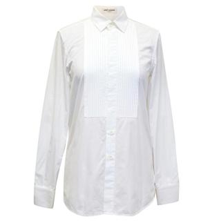 Saint Laurent White Cotton Shirt with Pleated Detail