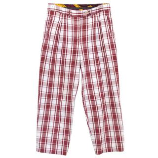 Stella Jean red and white checked cropped trousers