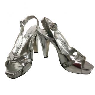 Barbara Bui silver metallic heels