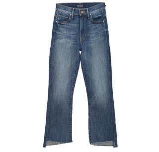 Mother Denim Insider Crop Step Fray Blue Jeans