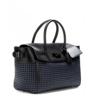 Mulberry blue/black leather woven Bayswater tote Bag