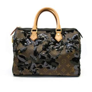 Louis Vuitton Ltd Ed. Monogram Fleur de Jais Sequin Speedy 30
