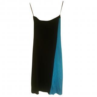 Ralph Lauren Azzure Blue and Black strapless dress silk stretch