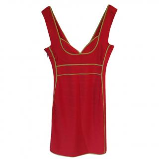 Herve Leger 'Bandage' tomato red dress with neon lime trim