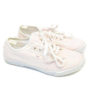 Feiyue Valerie pink pinstripe canvas sneakers