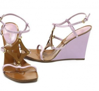Louis Vuitton Lilac Capricieuse Wedge Sandals