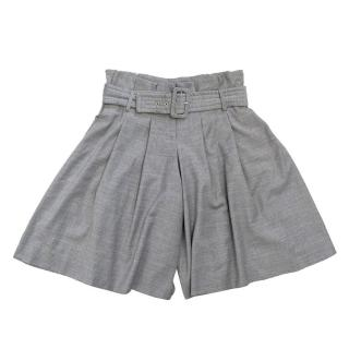 Matthew Williamson Grey High-Waisted Pleated Shorts