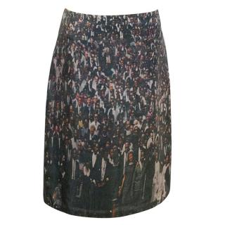 Markus Lupfer Silk Crowd Print Skirt