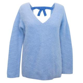 Sandro Angora Infused Blue Jumper with Bow Detail