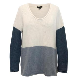 James Perse Blue and Cream Cashmere Jumper